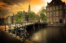 Romantic canal bridge, old town