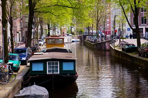 Old town canal, boats, Amsterdam