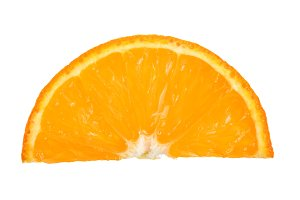 slice of tangerine isolated on white background. Top view. Flat lay