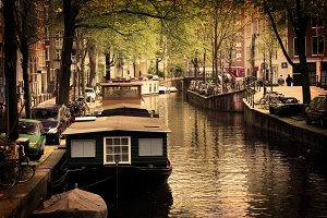 Romantic canal, boats. Old town