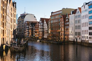 The Nikolaifleet, a canal in the old town Altstadt of Hamburg, Germany. One of the oldest parts of the Hamburg port