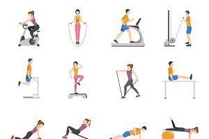 People training at gym flat icons