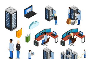 Datacenter isometric icons set