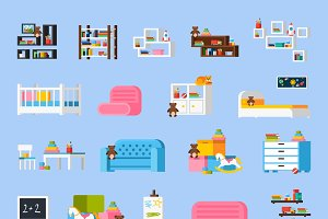Baby room furniture flat icons