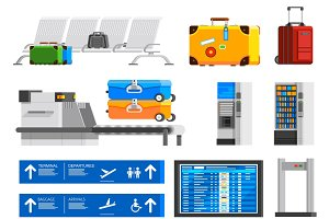 Airport interior flat icons set