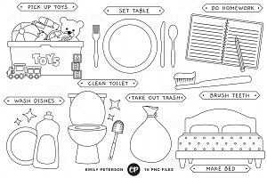 Kids' Chores Digital Stamps