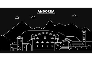Andorra silhouette skyline. Andorra vector city, andorran linear architecture, buildingline travel illustration, landmarkflat icon, andorran outline design banner