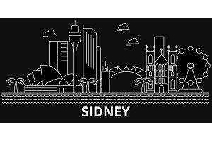 Sidney silhouette skyline. Australia - Sidney vector city, australian linear architecture, buildings. Sidney travel illustration, outline landmarks. Australia flat icon, australian line banner