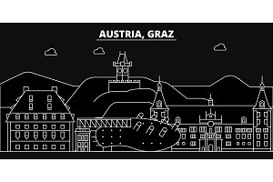 Graz silhouette skyline. Austria - Graz vector city, austrian linear architecture, buildings. Graz travel illustration, outline landmarks. Austria flat icon, austrian line banner