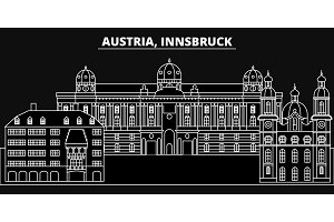 Innsbruck silhouette skyline. Austria - Innsbruck vector city, austrian linear architecture, buildings. Innsbruck travel illustration, outline landmarks. Austria flat icon, austrian line banner