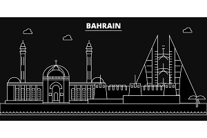 Bahrain silhouette skyline. Bahrain vector city, bahraini linear architecture, buildingline travel illustration, landmarkflat icon, bahraini outline design banner