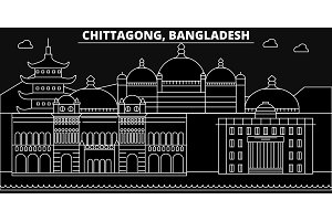Chittagong silhouette skyline. Bangladesh - Chittagong vector city, bangladeshi linear architecture, buildings. Chittagong travel illustration. Bangladesh flat icon, bangladeshi line banner