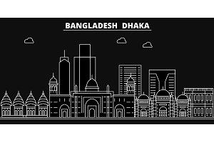 Dhaka silhouette skyline. Bangladesh - Dhaka vector city, bangladeshi linear architecture, buildings. Dhaka line travel illustration, landmarks. Bangladesh flat icon, bangladeshi outline banner