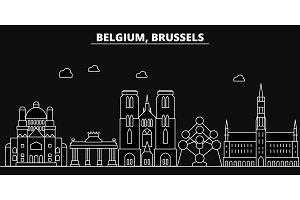 Brussels silhouette skyline. Belgium - Brussels vector city, belgian linear architecture, buildings. Brussels travel illustration, outline landmarks. Belgium flat icon, belgian line banner