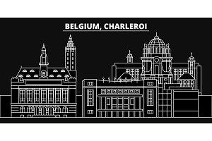 Charleroi silhouette skyline. Belgium - Charleroi vector city, belgian linear architecture, buildings. Charleroi travel illustration, outline landmarks. Belgium flat icon, belgian line banner