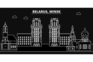 Minsk silhouette skyline. Belorus - Minsk vector city, belorussian linear architecture, buildings. Minsk travel illustration, outline landmarks. Belorussia flat icon, belorussian line banner