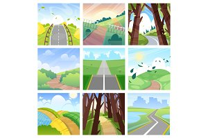 Road landscape vector roadway in forest or way to field lands with grass and trees in countryside illustration journey set of highway or roadside traveling in country