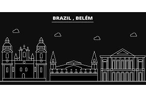 Belem silhouette skyline. Brazil - Belem vector city, brazilian linear architecture, buildings. Belem travel illustration, outline landmarks. Brazil flat icon, brazilian line banner