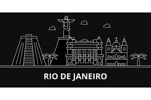 Rio De Janeiro silhouette skyline. Brazil - Rio De Janeiro vector city, brazilian linear architecture, buildings. Rio De Janeiro travel illustration, outline landmarks. Brazil flat icon, line banner