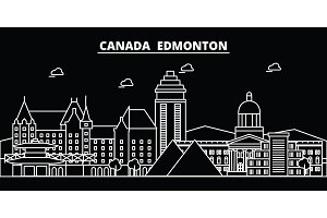 Edmonton silhouette skyline. Canada - Edmonton vector city, canadian linear architecture, buildings. Edmonton travel illustration, outline landmarks. Canada flat icon, canadian line banner