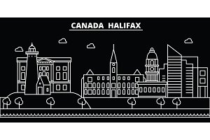 Halifax silhouette skyline. Canada - Halifax vector city, canadian linear architecture, buildings. Halifax travel illustration, outline landmarks. Canada flat icon, canadian line banner