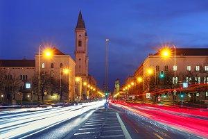 Church St. Louis at night, Munich, Germany