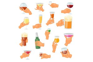 Beverage in hand vector drinking alcoholic cocktail tequila martini or nonalcoholic beer in mug illustration set of handing glass of drinkable alcohol isolated on white background