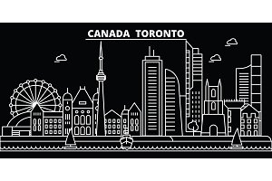 Toronto city silhouette skyline. Canada - Toronto city vector city, canadian linear architecture, buildings. Toronto city travel illustration, outline landmarks. Canada flat icon, canadian line banner