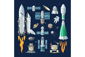 Rocket vector spaceship or spacecraft and satellite or lunar-rover illustration spacy set of spaced ship in universe space with planets isolated on background