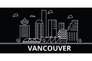 Vancouver silhouette skyline. Canada - Vancouver vector city, canadian linear architecture, buildings. Vancouver travel illustration, outline landmarks. Canada flat icon, canadian line banner