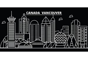 Vancouver city silhouette skyline. Canada - Vancouver city vector city, canadian linear architecture. Vancouver city travel illustration, outline landmarks. Canada flat icon, canadian line buildings