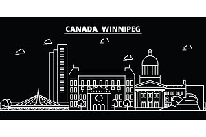 Winnipeg silhouette skyline. Canada - Winnipeg vector city, canadian linear architecture, buildings. Winnipeg travel illustration, outline landmarks. Canada flat icon, canadian line banner