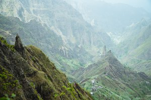 Moody view to fertile Xo-xo valley. Scenic landscape of bluff green mountain slopes and rocks. Santo Antao cape Verde