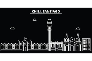 Santiago de Chile silhouette skyline. Santiago de Chile vector city, chilian linear architecture, buildingtravel illustration, outline landmarkflat line icon, s