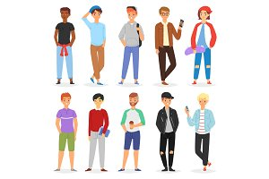 Teenage boy vector young male person character and handsome boyfriend illustration boyish set of youth teen or student guy isolated on white background