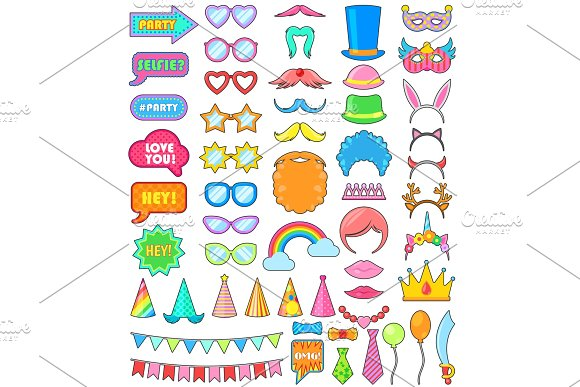 Birthday Party Icon Vector Anniversary Cartoon Kids Happy Birth Celebration With Funny Glasses Masks And Hats Or Wigs For Children Adults Set