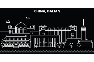 Dalian silhouette skyline. China - Dalian vector city, chinese linear architecture, buildings. Dalian travel illustration, outline landmarks. China flat icon, chinese line banner