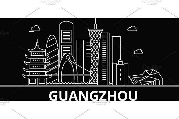 Guangzhou silhouette skyline. China - Guangzhou vector city, chinese linear architecture, buildings. Guangzhou travel illustration, outline landmarks. China flat icon, chinese line banner