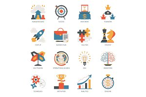 Startup business icon vector start up businessplanning with success strategy or innovation idea illustration set of multitasking and brainstorm signs isolated on white background