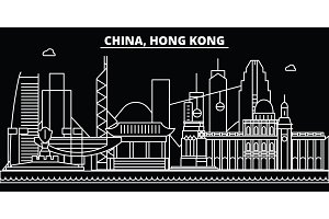 Hong Kong silhouette skyline. China - Hong Kong vector city, chinese linear architecture, buildings. Hong Kong travel illustration, outline landmarks. China flat icon, chinese line banner
