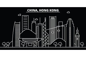 Hong Kong silhouette skyline. China - Hong Kong vector city, chinese linear architecture, buildings. Hong Kong line travel illustration, landmarks. China flat icon, chinese outline design banner
