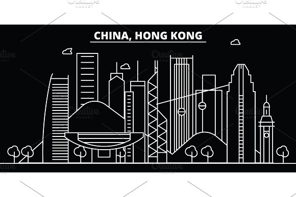 Hong Kong silhouette skyline. China - Hong Kong vector city, chinese linear architecture, buildings. Hong Kong line travel illustration, landmarks. China flat icon, chinese outline design banner in Illustrations