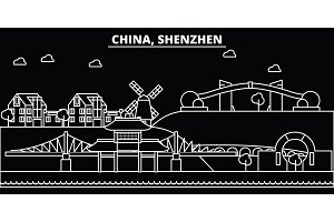 Shenzhen silhouette skyline. China - Shenzhen vector city, chinese linear architecture, buildings. Shenzhen travel illustration, outline landmarks. China flat icon, chinese line banner