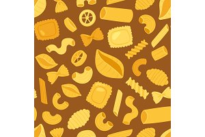 Pasta vector cooking macaroni and spaghetti and ingredients of italian cuisine illustration set of traditional food in Italy seamless pattern background