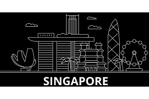 Singapore silhouette skyline. China - Singapore vector city, chinese linear architecture, buildings. Singapore travel illustration, outline landmarks. China flat icon, chinese line banner