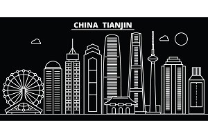 Tianjin silhouette skyline. China - Tianjin vector city, chinese linear architecture, buildings. Tianjin line travel illustration, landmarks. China flat icon, chinese outline design banner