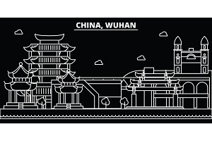Wuhan silhouette skyline. China - Wuhan vector city, chinese linear architecture, buildings. Wuhan travel illustration, outline landmarks. China flat icon, chinese line banner