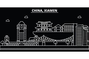 Xiamen silhouette skyline. China - Xiamen vector city, chinese linear architecture, buildings. Xiamen travel illustration, outline landmarks. China flat icon, chinese line banner