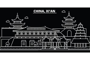 Xian silhouette skyline. China - Xian vector city, chinese linear architecture, buildings. Xian travel illustration, outline landmarks. China flat icon, chinese line banner