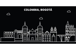 Bogota silhouette skyline. Colombia - Bogota vector city, colombian linear architecture, buildings. Bogota line travel illustration, landmarks. Colombia flat icon, colombian outline design banner